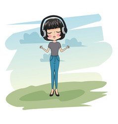cute girl with headphones vector image