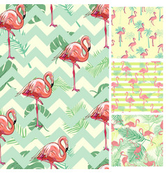 cute set of pink flamingo tropical vibes seamless vector image
