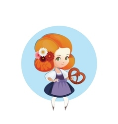 Cuter girl with pretzel in dirndl vector