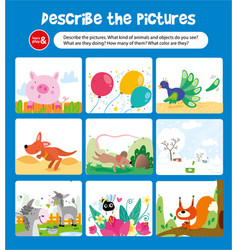 Describe picture with animal and object kid game vector