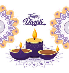 Diwali candle and vessels lits with mandalas vector