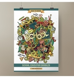 Doodles cartoon colorful School hand drawn vector image