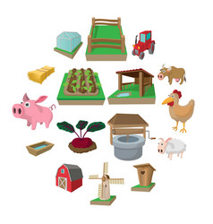 farm cartoon icons set vector image