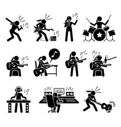 female music artist singing song and playing vector image