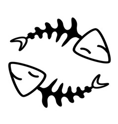 Fish bone in circle design vector