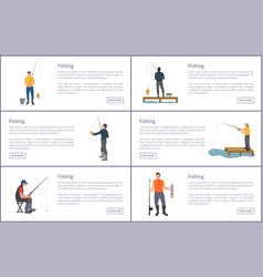 Fishing posters with titles vector