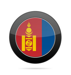 Flag of mongolia shiny black round button vector