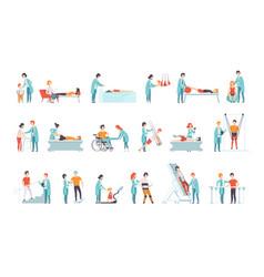 Flat set people on rehabilitation vector
