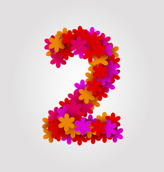 Floral numbers colorful flowers number 2 vector