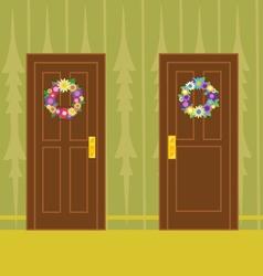 Flower wreath on wooden door vector