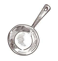 frying pan with handle for cooking meal monochrome vector image