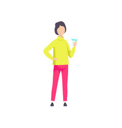Guy in fashionable clothes drinking cocktail vector