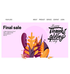 Hand drawn happy thanksgiving typography banner vector