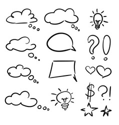 hand drawn set of sketch speech bubbles clouds vector image