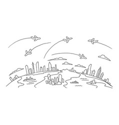 Hand-drawn sketch lanes fly over the cities above vector