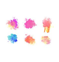 hand drawn watercolor paint brush splatter set vector image