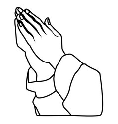 Hands praying sign vector