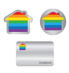 Home icon on the Rainbow flag vector image