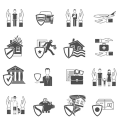 Insurance flat icon set vector image