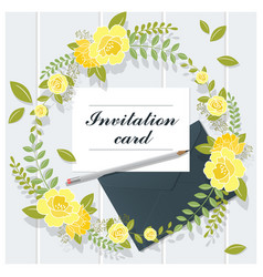 invitation card collection on wooden background vector image