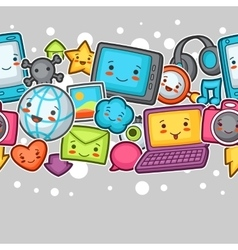 Kawaii gadgets social network seamless pattern vector