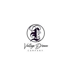 l alphabet letter icon logo vintage design vector image