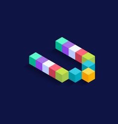 Letter v isometric colorful cubes 3d design vector