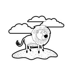 lion cartoon in outdoor scene with clouds in black vector image