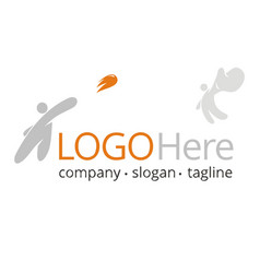 logo with people throwing and catching a ball vector image