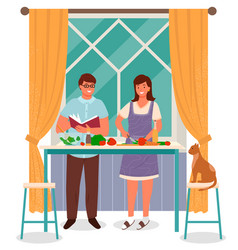 Man and woman on kitchen housewife cook salad vector