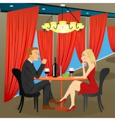 Man and woman sitting in restaurant vector