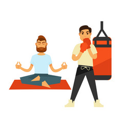 Man doing yoga on rug and boxing person in gloves vector