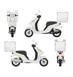 Moto bike realistic views of scooter for delivery vector