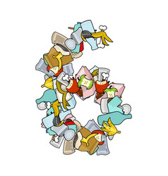 number 6 rubbish trash font six sign garbage vector image