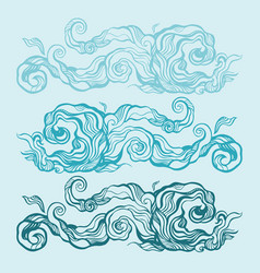 ocean waves set hand drawn vector image