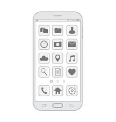 outline drawing smartphone elegant thin line vector image