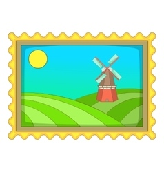Picture with windmill icon cartoon style vector