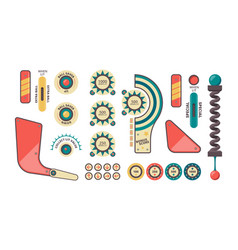 Pinball elements buttons coins plunger decorative vector