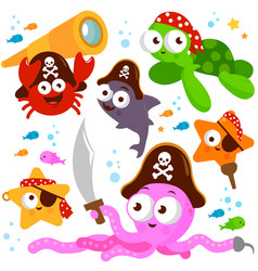 pirate sea animals collection vector image