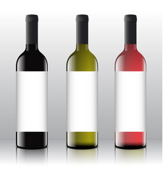 Premium quality red white and pink wine blank vector