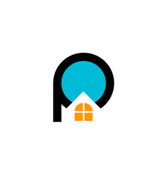 real estate letter p and window house logo vector image