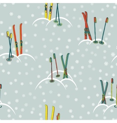 Retro ski pattern vector image