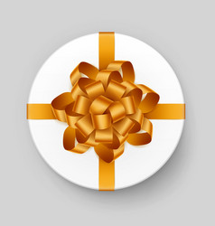 Round box with yellow bow on background vector