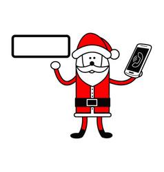 Santa claus holding editable blank sign and vector