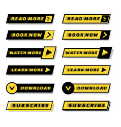 Set modern material style buttons for website vector