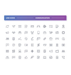set of 60 line icons communication vector image