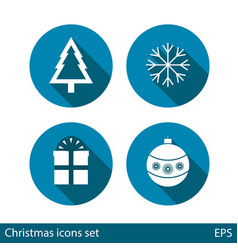 set of christmas icons on blue background with vector image