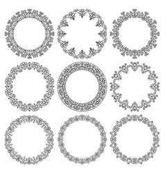 set round frames fancy floral pattern vector image
