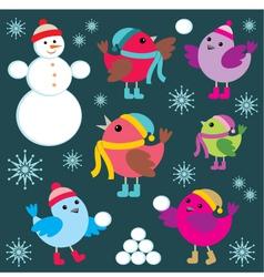 set winter birds and snow man vector image