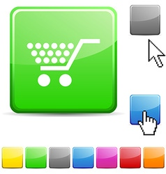 Shopping glossy button vector